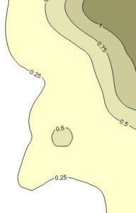 A respirable dust silica quartz contaminant contour map