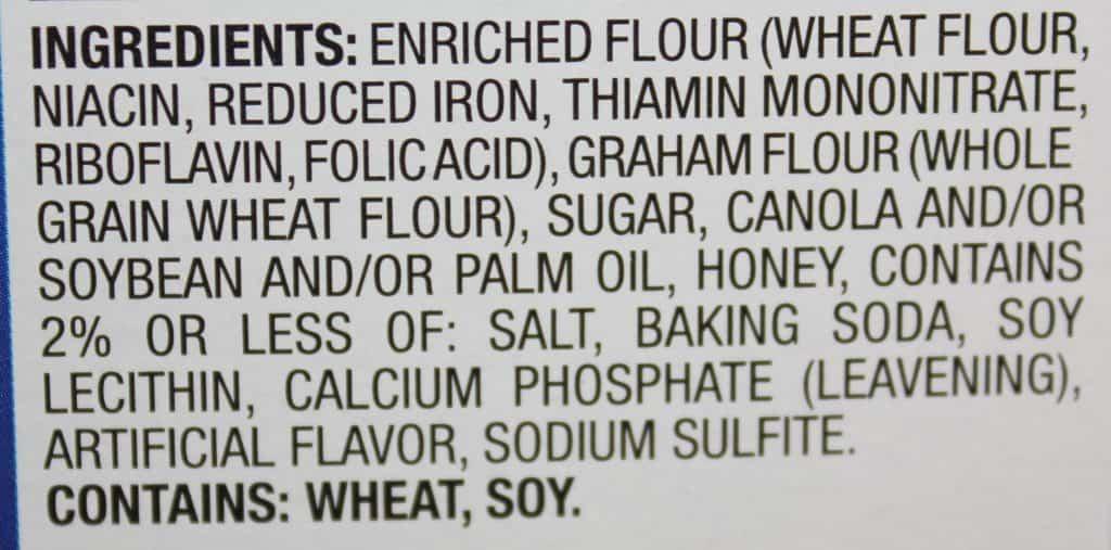 Ingredients label close up