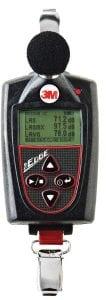 A 3M Edge noise dosimeter using for personal noise dosimetry on employees for OSHA compliance