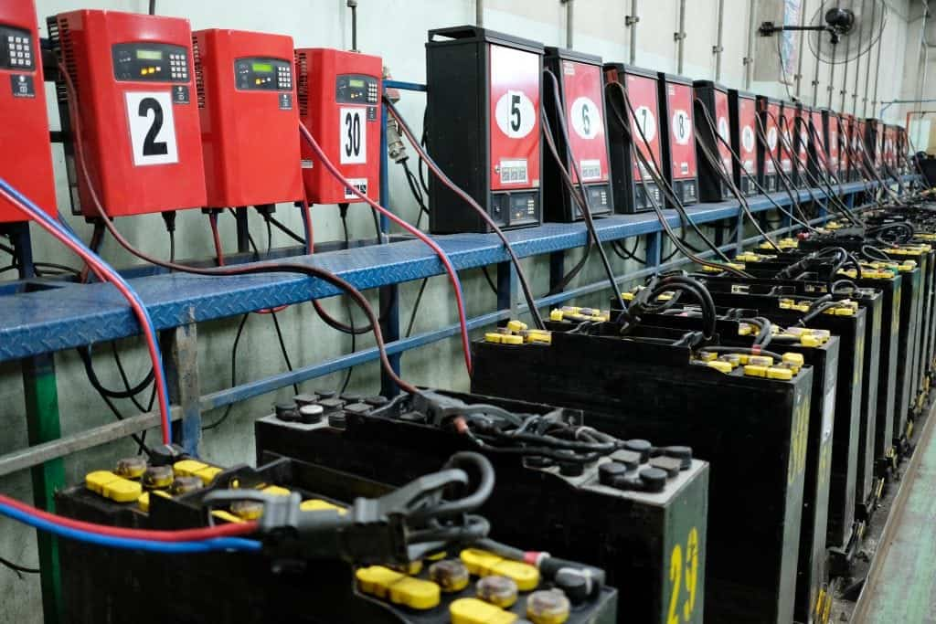 View of electronic battery charging area in industrial facility that emits hydrogen gas