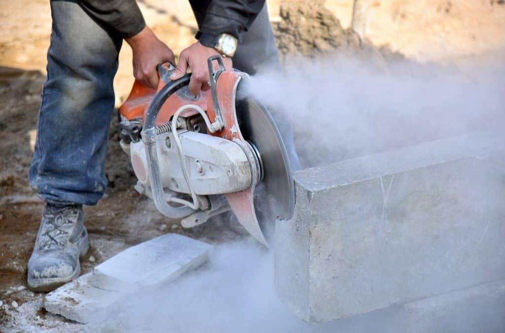 Circular saw cutting concrete